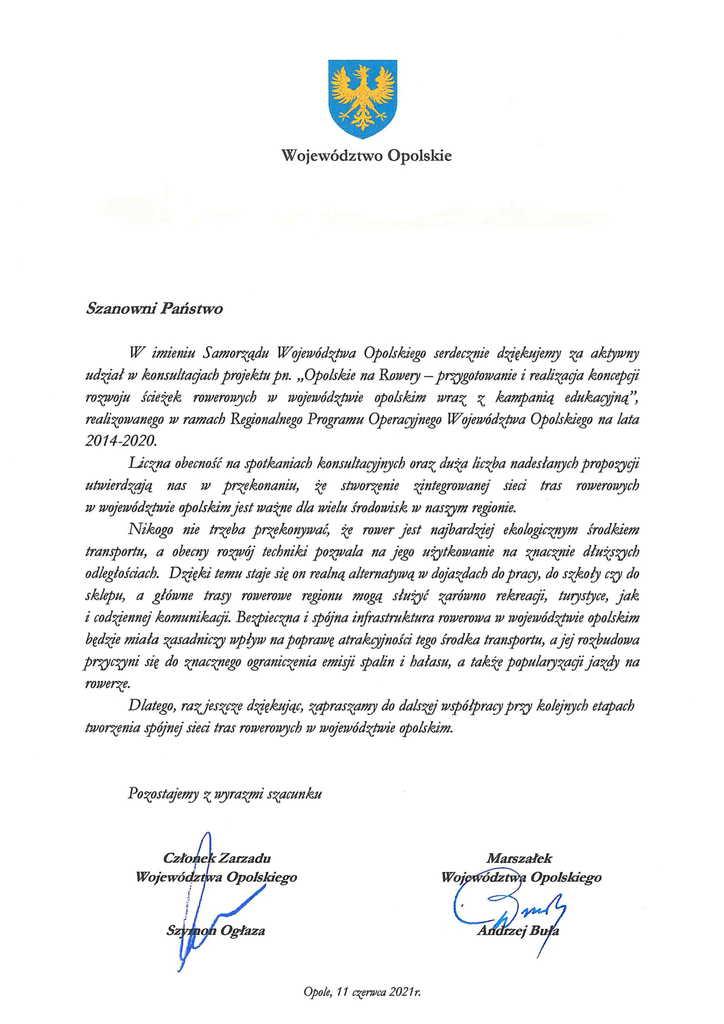 Podziękowania Marszałka Województwa Opolskiego za udział w konsultacjach w ramach  projektu Opolskie na rowery-1.jpeg